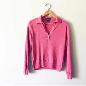 Brooks Brothers Pink Silk Cashmere Polo Sweater